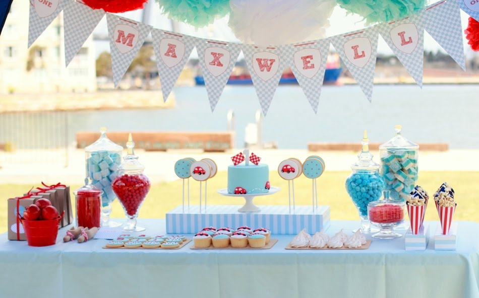 red blue race car first birthday party whimsy